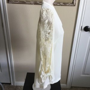 Tops - Cream lace sleeve blouse